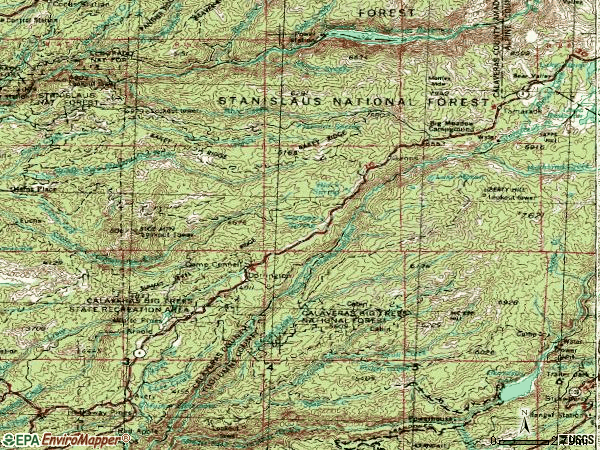 Zip code 95223 topographic map