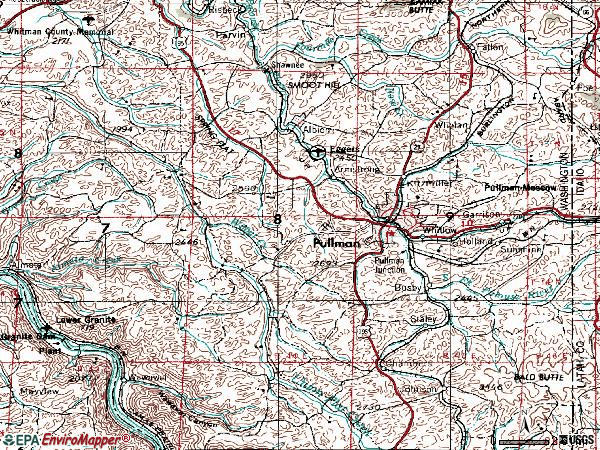 Zip code 99163 topographic map