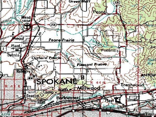 Zip code 99217 topographic map