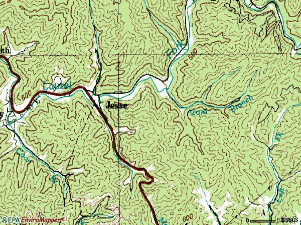 Zip code 24849 topographic map