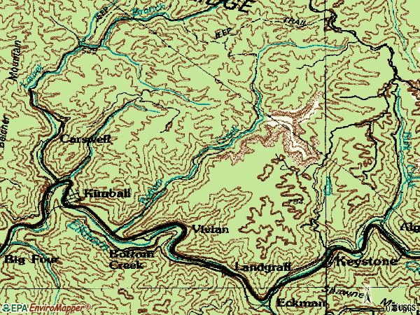 Zip code 24853 topographic map