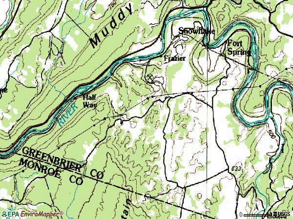 Zip code 24936 topographic map