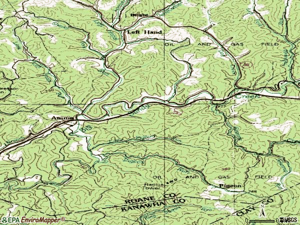 Zip code 25005 topographic map
