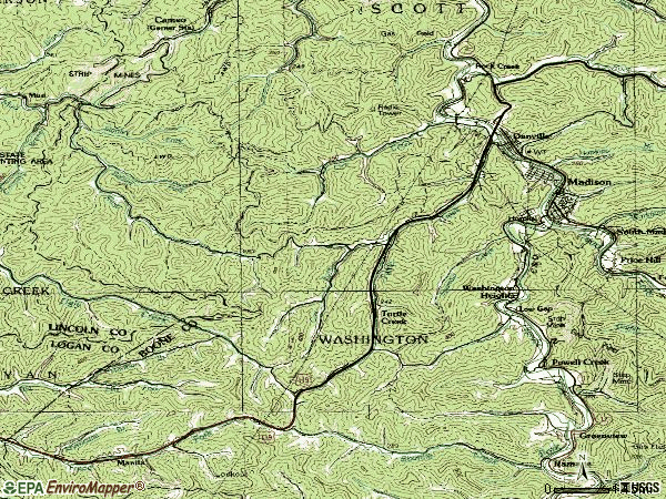 Zip code 25053 topographic map
