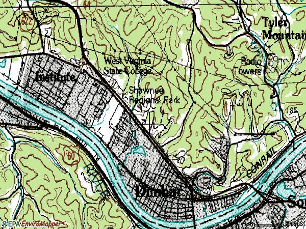 Zip code 25064 topographic map