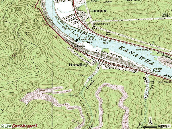 Zip code 25102 topographic map