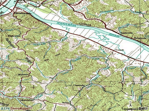 Zip code 25106 topographic map