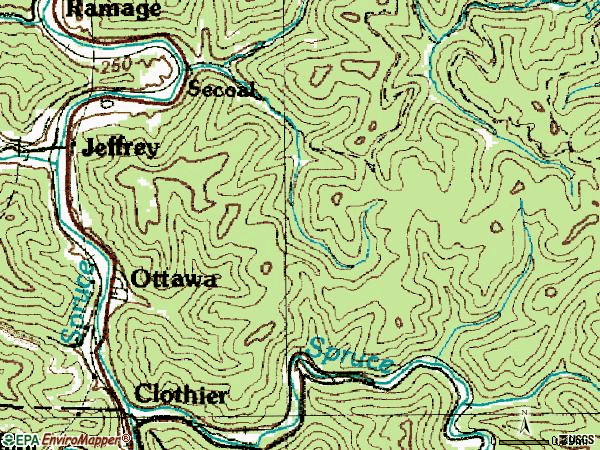 Zip code 25114 topographic map