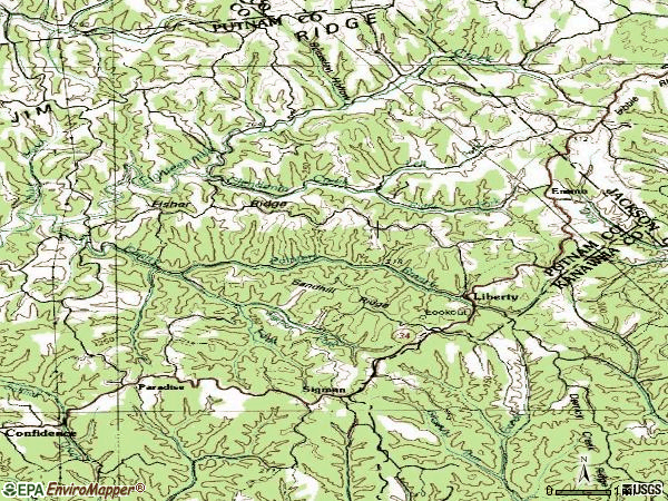 Zip code 25124 topographic map