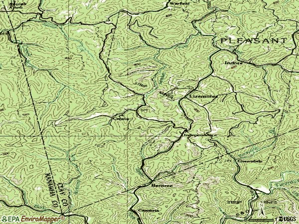 Zip code 25125 topographic map