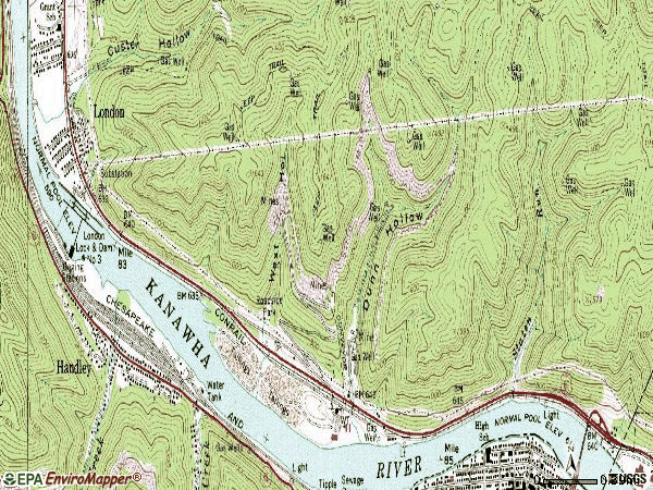 Zip code 25126 topographic map