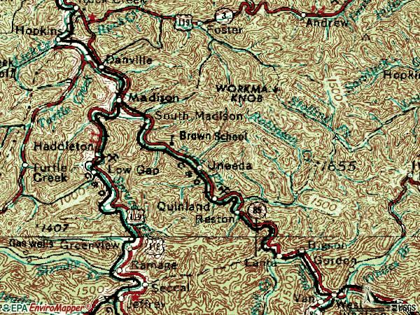 Zip code 25130 topographic map