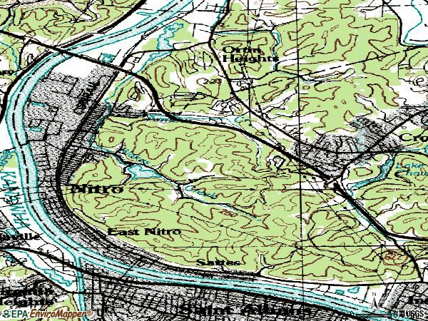 Zip code 25143 topographic map