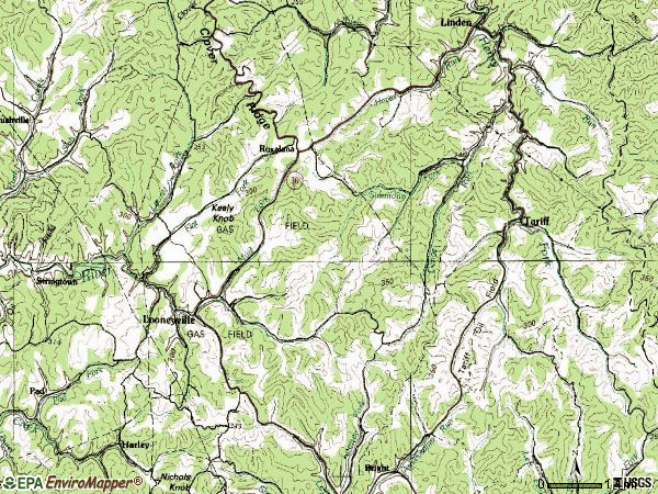 Zip code 25259 topographic map