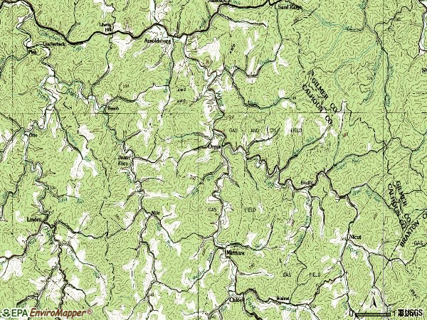 Zip code 25268 topographic map