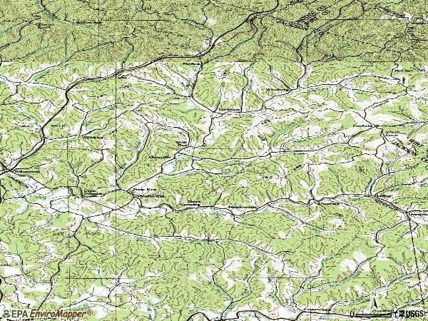 Zip code 25275 topographic map