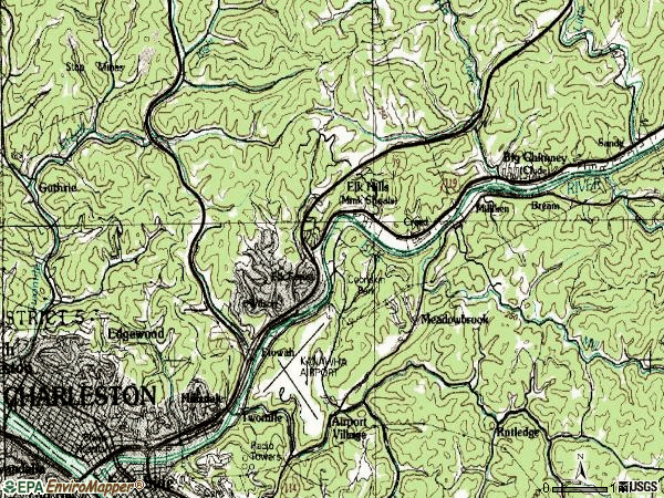 Zip code 25302 topographic map