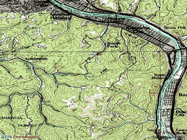 Zip code 25304 topographic map