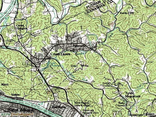 Zip code 25313 topographic map