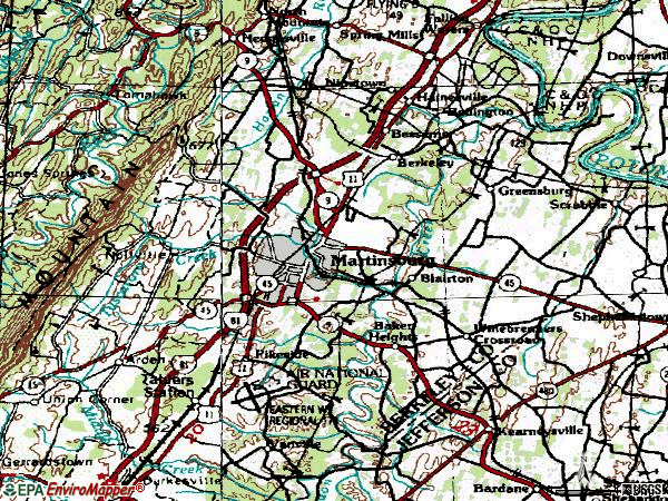 Zip code 25401 topographic map