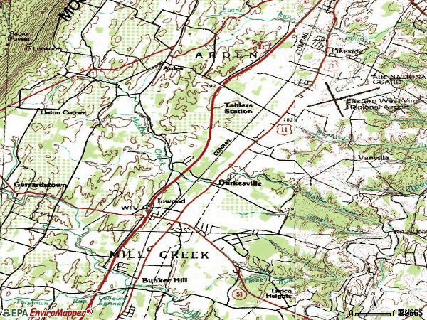 Zip code 25428 topographic map