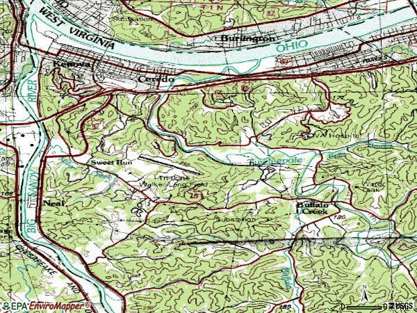 Zip code 25530 topographic map