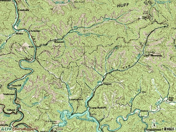 Zip code 25650 topographic map