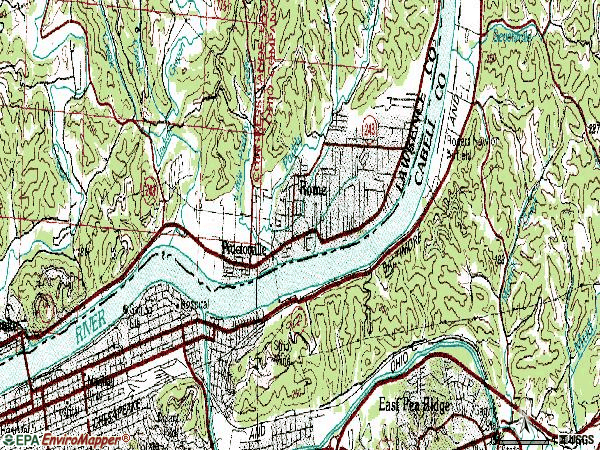 Zip code 25702 topographic map