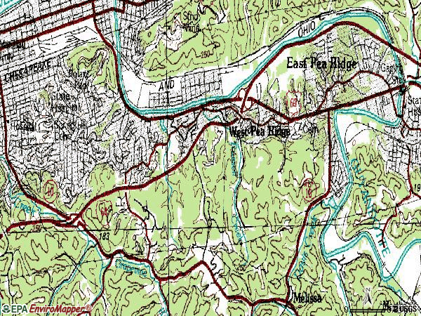 Zip code 25705 topographic map