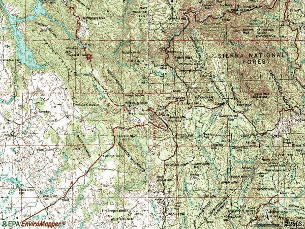 Zip code 95338 topographic map