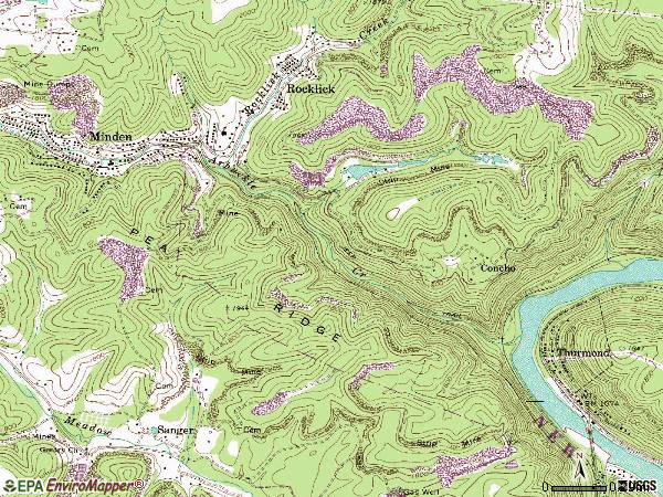 Zip code 25879 topographic map