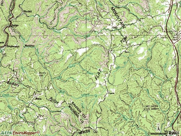 Zip code 25902 topographic map