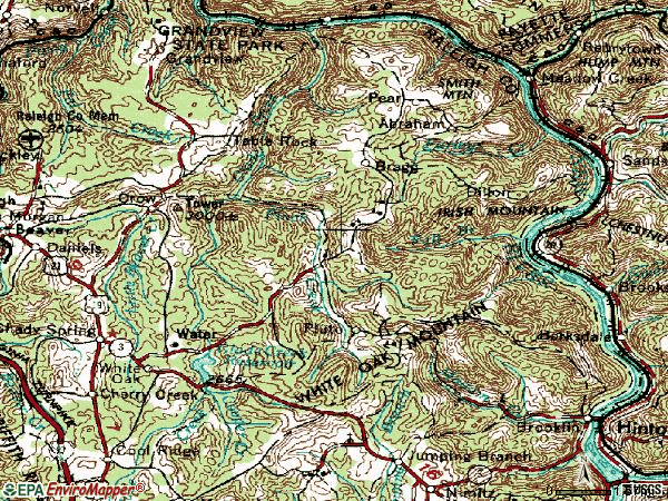 Zip code 25918 topographic map