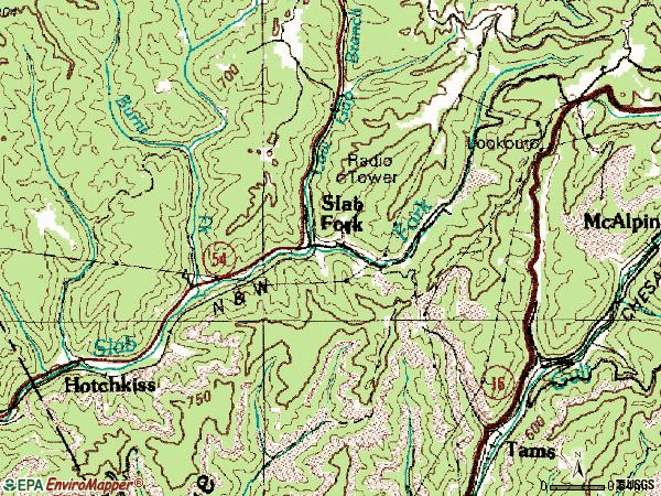 Zip code 25920 topographic map