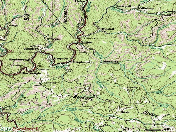 Zip code 25928 topographic map