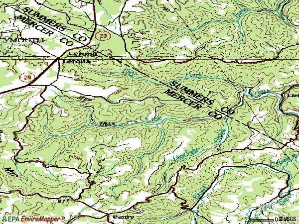 Zip code 25971 topographic map