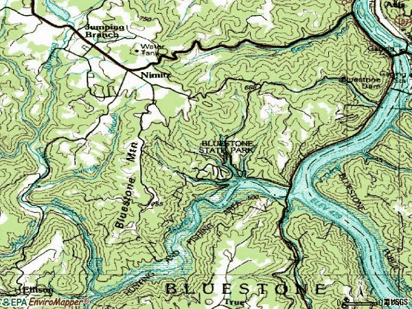 Zip code 25978 topographic map