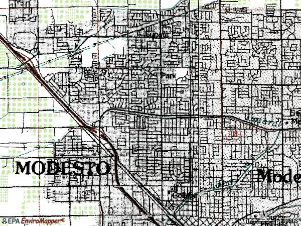 Zip code 95350 topographic map