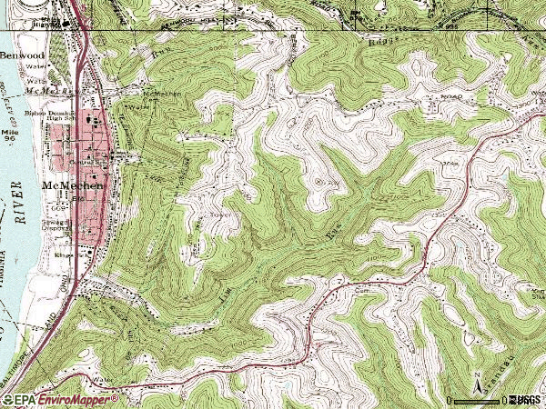 Zip code 26040 topographic map
