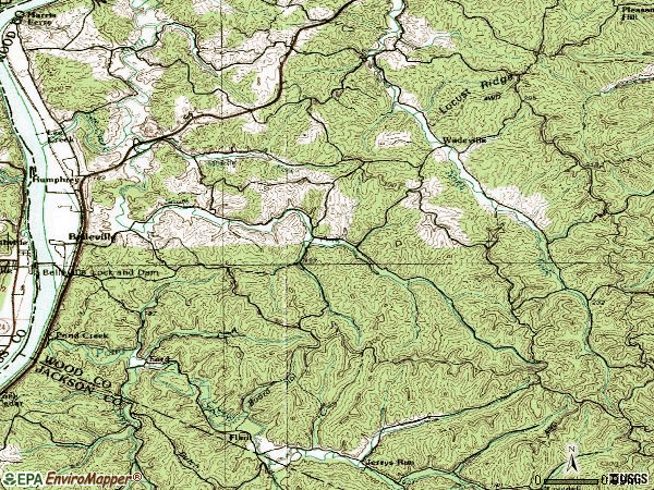 Zip code 26133 topographic map