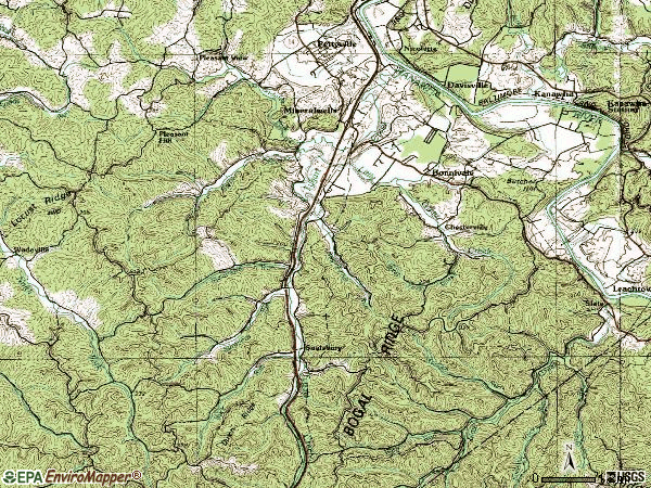 Zip code 26150 topographic map