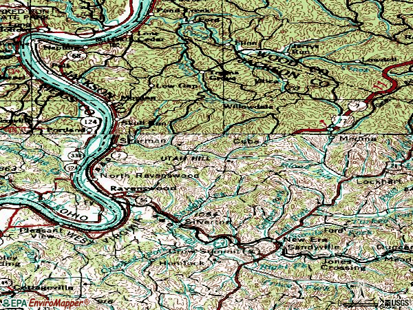 Zip code 26164 topographic map