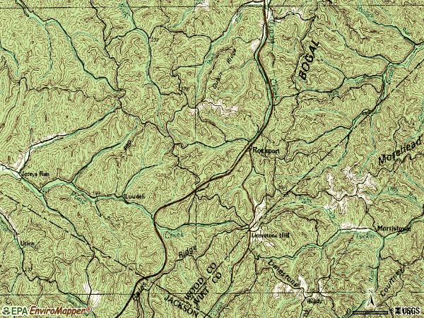 Zip code 26169 topographic map