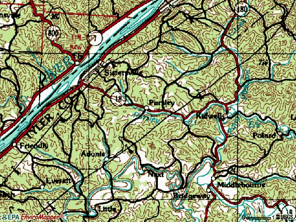 Zip code 26175 topographic map