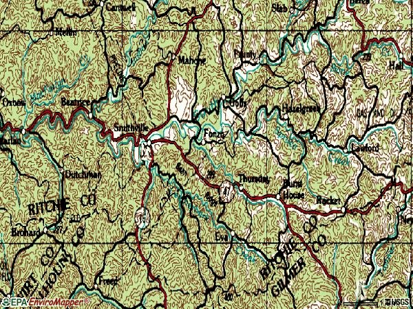 Zip code 26178 topographic map