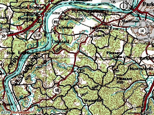 Zip code 26181 topographic map