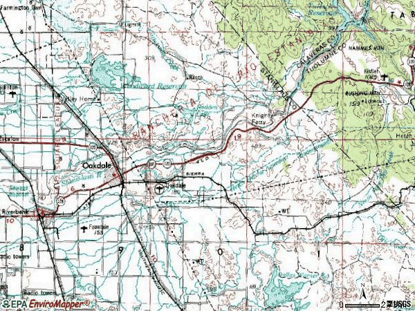 Zip code 95361 topographic map
