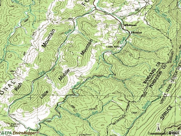 Zip code 26296 topographic map