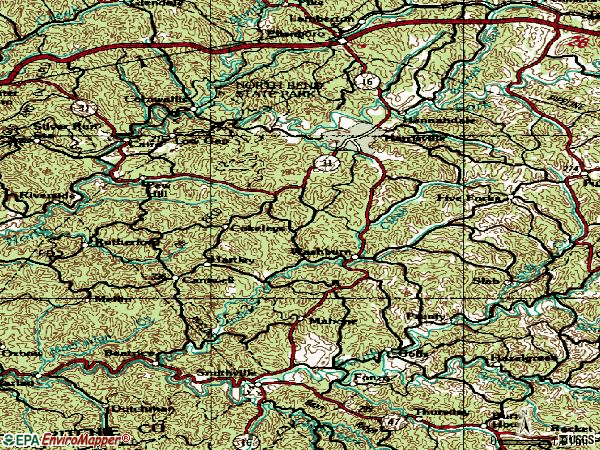 Zip code 26362 topographic map