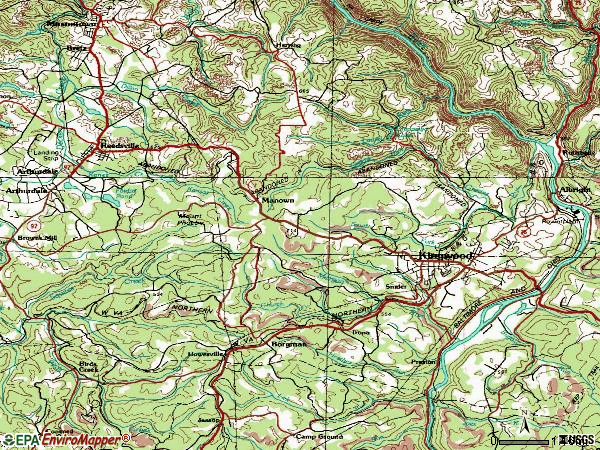 Zip code 26537 topographic map